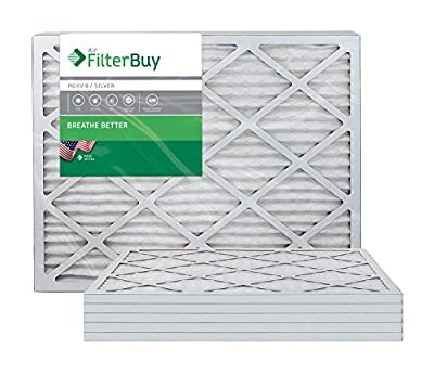 FilterBuy 20x23x1 MERV 8 Pleated AC Furnace Air Filter, (Pack of 6 Filters), 20x23x1 – Silver
