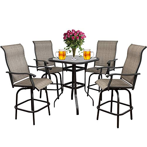 5PCS Patio 360 Swivel Stool Bar Set Outdoor Furniture Height Bistro Chairs & Table Sets, Suitable for Deck, Backyard, Balcony and Garden