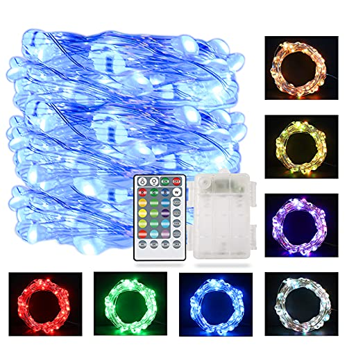 LED Rope Lights String Lights Fairy Lights with Remote for Bedroom Christmas Wedding Party Decor, 16.4 Ft 50 LEDs 16 Color Changing Lights and 8 Lights Mode Waterproof 3 AA Battery Operated Case