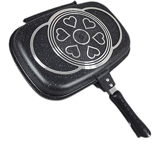 New Double-sided Portable BBQ Grill Pan Non-Stick Coating Omelette Pan Flip Pan Square Jumbo Cookware Anti-scalding Handle Skillet Cast Grill Frittata Pan for Indoor and Outdoor Cooked Chicken, Fish