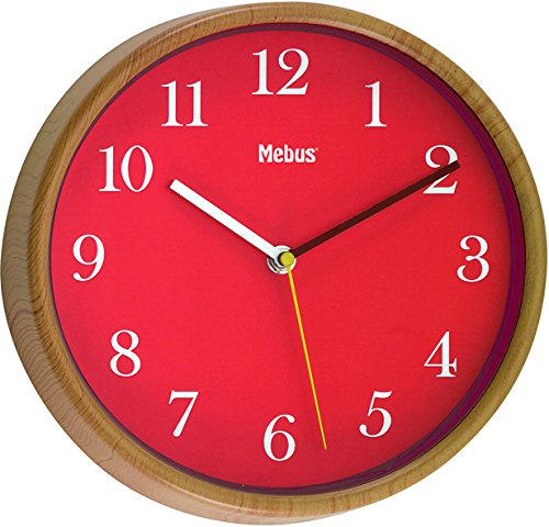Mebus Wanduhr/Analog/Material: Holz/Farbe Rot/Modell: 52784