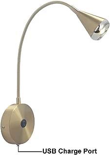 USB LED Bedside Reading Wall Lamp Light,Living Room Wall Lamp Light,Wall Sconces,LED 4.2-5Watt 3000K,USB Charging Port,Flexible Gooseneck,Metal,Brushed Brass