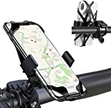 """JY Bike Phone Mount Holder with 360°Rotation Motorcycle Phone Mount Holder Features Strong Metal Base Silicone Rubber Band Universal Bicycle Phone Mount Fits Most Handlebars and 3.5""""-7"""" Smart Phones"""