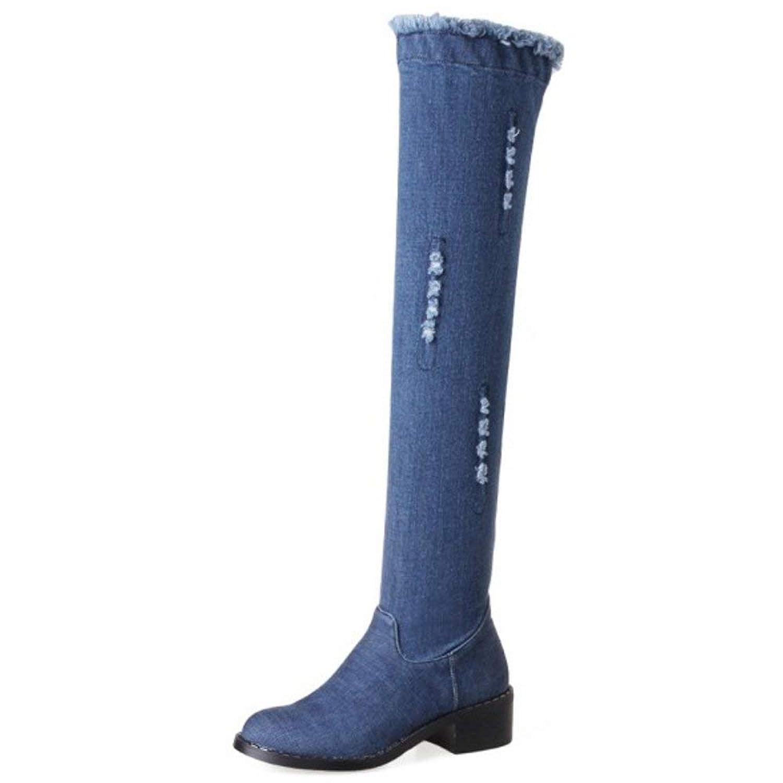 [Unm] レディーズ あき ふゆ Blue デニム Flat オーバーニー ブーツ with Ankle ジッパー
