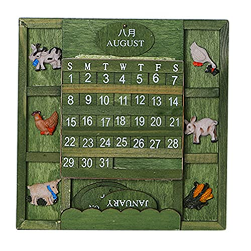 Leyeet Calendario de madera alternativo colgante calendario retro verde pequeño fresco decoración del hogar