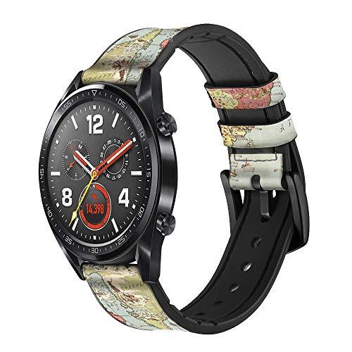 Innovedesire Vintage World Map Cinturino in Pelle e Silicone Smartwatch per Wristwatch Smartwatch Smart Watch Taglia (20mm)