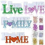 8 Pezzi Kit di Stampi in Resina Epossidica, Resina Stampo in Silicone Lettere 3D Love/Home/Family/Live, per Fai da Te, la Tavola Decorazione, Regali Creativi per Festival e Compleanni