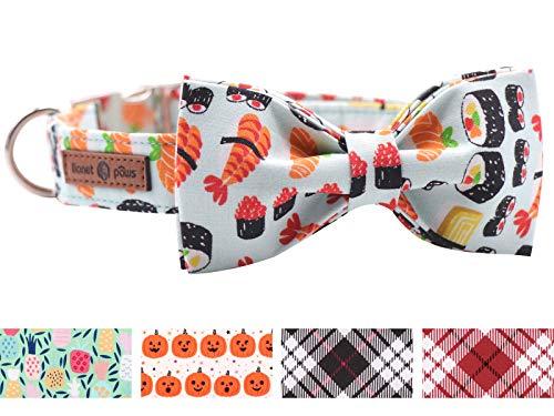 lionet paws Weich Baumwolle Fliege Hundehalsband mit Metall Verschluss Einstellbare Halsbänder für Große Hunde, Hals 40-66cm