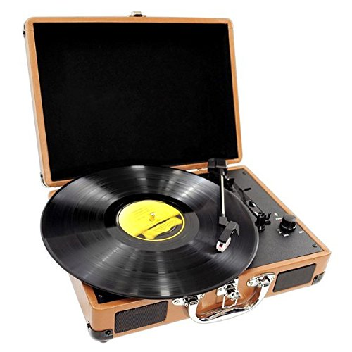 Upgraded Version Vintage Record Player - Classic Vinyl Player, Turntable, Rechargeable Batteries, MP3 Vinyl, Music Editing Software Included, USB-to-PC Connection, 3 Speed - Pyle PVTT2UWD (Wood)