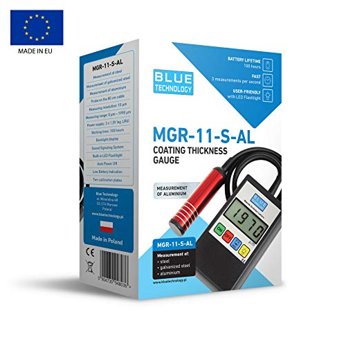 Blue Technology, misuratore dello spessore della vernice, spessimetro professionale, di colore nero, acciaio e alluminio MGR-11-S-AL