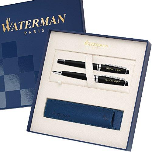 WATERMAN Schreibset EXPERT Mattschwarz C.C. mit persönlicher Laser-Gravur Füllfederhalter und Kugelschreiber im großen Geschenk-Etui