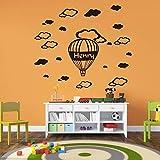 YuanMinglu Nom du Ballon à air Chaud Peut être Nuage Sticker Mural Salon décoration de la Maison Amovible Vinyle décoration Murale 64.5 cm x 81 cm