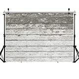 SJOLOON Backdrop for Photoshoot Gray and White Wood Plank Background Wood Photo Backdrop Backdrops for Photographers Photoshoot Portrait 11884 (5x3ft)