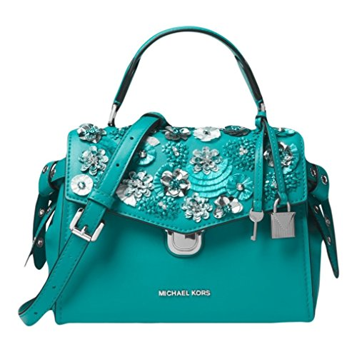 """9-1/2""""W x 6-3/4""""H x 4""""D (width is measured across the bottom of bag) 3""""L top handle; 21""""-24""""L adjustable strap Push-lock closure Shiny rhodium-tone exterior hardware Leather; lining: polyester; accents: cotton"""