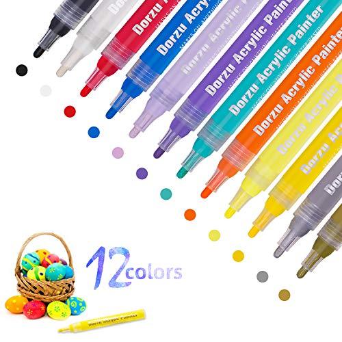 Dorzu Acrylstifte Marker, Stifte Set mit 12 Farben Acrylfarben Marker Wasserfest für Felsmalerei, Leinwand, Fotoalbum, Heimwerken, Schulprojekt, Glas, Holz, Metall