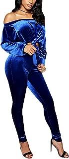 Womens 2 Piece Outfits Velvet Off Shoulder Long Sleeve Crop Top Pants Sets