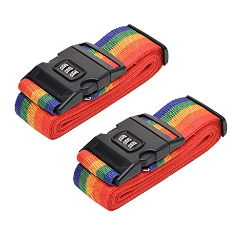 WeTest 2-Pack Adjustable Luggage Straps with Combination Lock,Suitcase Belts for Travel,165 Inch,Colorful