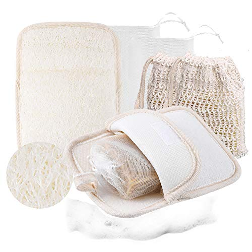 Soap Saver Pouch Exfoliating Loofah Sponge Pocket Bath Sponge Pad,Shower Sponge Body Scrubber with Natural Sisal Soap Saver Pouch and Soap Bubble Mesh Bags for Men and Women(Three Methods)
