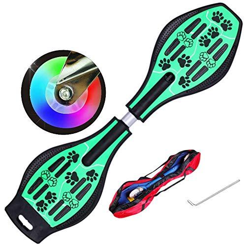 ZJJLZJ Waveboards, Kinderroller-Zweirad-Blitzrad, Frosch-Skateboard, Auto-Zweirad-Schaukel-Skateboard, Junge-Mädchen-Roller, heißes rotes Blitzrad,-Grün