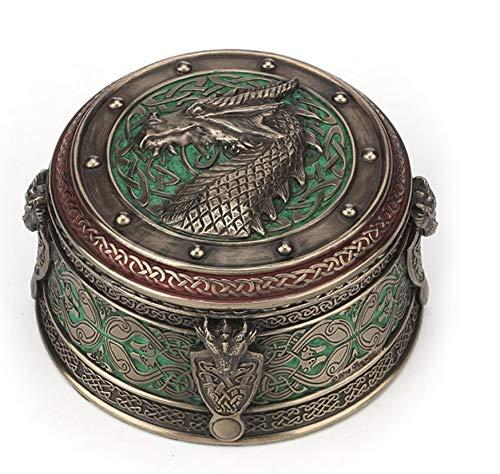 3.75' Celtic Dragon Crest Round Jewelry Trinket Box Mythical Home Decor Gothic