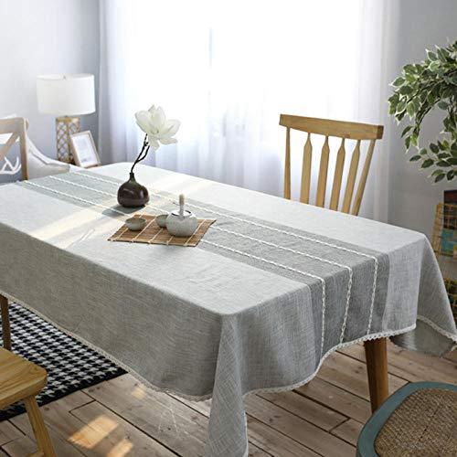 QKEMM Mantel de Mesa Manteles Estilo Mediterráneo Resistente Al Desgaste de Lino de Algodón Manteles Rectangulares de Mesa de Café Manteles Rayas Grises 140×200cm