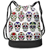 zhangyuB Polyester Bolsa con cordón Theft Proof Water Resistant Large Size String Bag Large Capacity For Basketball, Volleyball, Sports & Workout Gear (Day of The Dead Sugar Skull Flower Art)