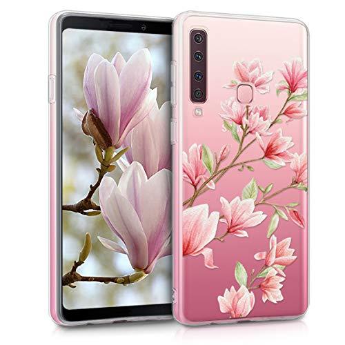 kwmobile Hülle kompatibel mit Samsung Galaxy A9 (2018) - Handyhülle - Handy Hülle Magnolien Rosa Weiß Transparent