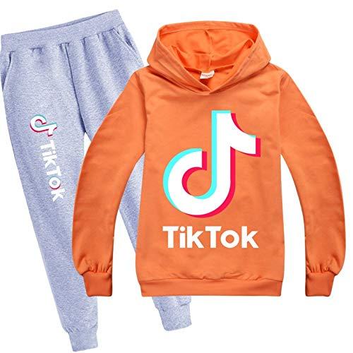 2 Piezas Conjunto TIK Tok Sudadera con Capucha y Pantalones de Chándal Impresión Ropa Tiktok para Niños Niñas Unisex