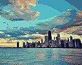 xinyouzhihi DIYPintarpornúmerosPaisaje Urbano de Chicago Arte Pintado A Mano Creativo Pintura Al Óleo Digital el hogar Salón Decoración de la imagen40x50cm(SinMarco)