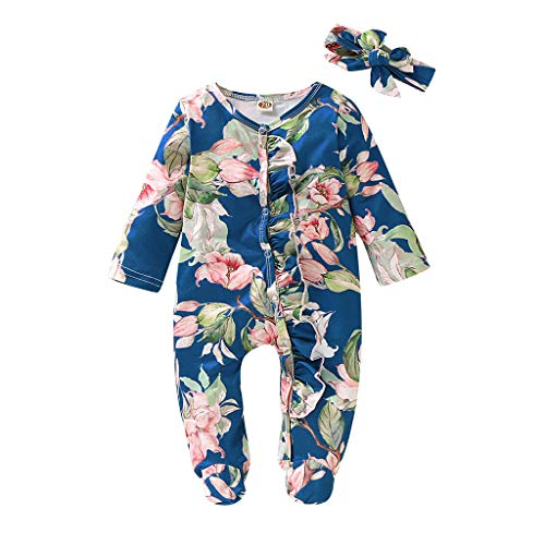 WOCACHI Unisex Baby Pajamas, Infant Baby Girls Long Sleeve Floral Solid Jumpsuit Romper+Headband Outfits New Born Birth Knitted Rib Boatneck Turtleneck Cute Cartton Patern Blanket u-Neck