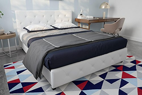DHP Dakota Upholstered Faux Leather Platform Bed with Wooden Slat Support and Tufted Headboard and...