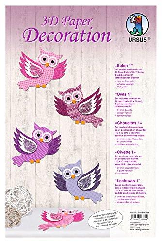 Ursus 21890099 - 3D Paper Decoration Eulen, ca. 10 x 10 cm, rosa/lila