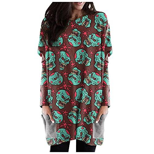 LianMengMVP Chemisier Long Grand Taille Costume De Visage Chemise De Pumpkin Lanterne Deguisement Halloween Femme Hauts Pull Chemisier Long Fluide Pas Cher Tee Shirt Manche Longue Femme Chic