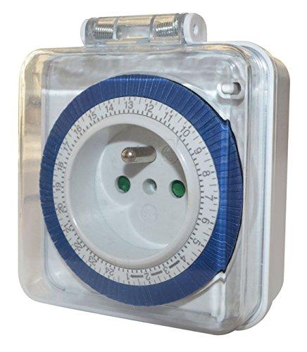Tibelec 562410 Zeitschaltuhr, Tagesschaltung, kompakte Mechanik, für die Verwendung im Außenbereich