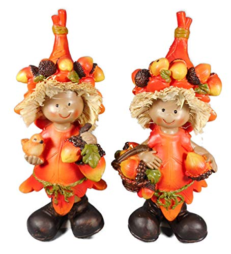 2er Set Herbst Nuss Obst Kinder je 14 x 6 cm Vogel Herbstdeko Figur Deko GCG 0610 B