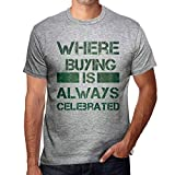 One in the City Hombre Camiseta Vintage T-Shirt Gráfico Where We Always Buying Gris Moteado