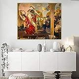 Joaquin Sorolla 《Mujeres Bailando Flamenco En El Café》 cuadros decoracionlienzos decorativos cuadros decoracion dormitorios decoración pared lienzos decorativos 35x43cm Sin Marco