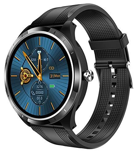 Smartwatch Herren Pulsuhr Uhr mit Blutdruckmessung Schrittzähler Rund Touchscreen Bluetooth Fitness Armband für Android IOS Laufuhr Sport Wasserdicht Kalorienzähler