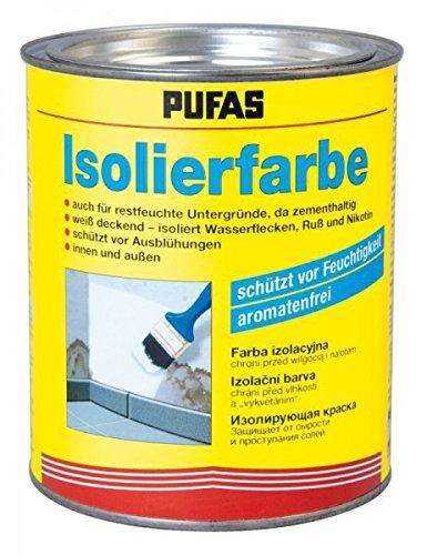 Pufas Isolierfarbe - Schutz vor Ausblühung und Feuchtigkeit zementhaltig weiß 750ml