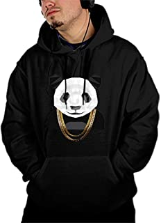 Qeeww Men's Print Athletic Sweaters Cool Panda Hoodies Sweatshirts