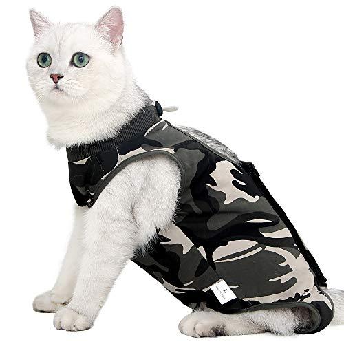 Katzen-Genesungsanzug gegen Lecken für chirurgische Bauchwunden weich atmungsaktiv für Zuhause Haustierbekleidung E-Kragen Alternative