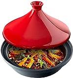 Cazuela de hierro Olla marroquí, pequeño plato de tajine, cafetera de caza de cerámica redonda con tapa, olla de tierra caliente de calor, utensilios de cocina multifunción for sopa de estofado C 16 *