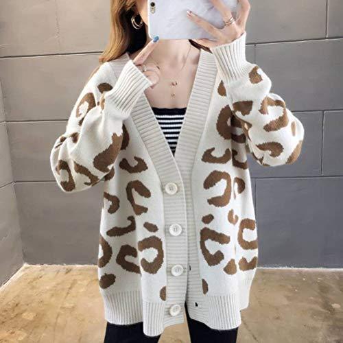Dames pullover en pullover herfst casual stijl pullover vrouwelijk losse Koreaanse stijl student V-hals lui stijl gebreide jas mantel, JUSTTIME Eén maat beige