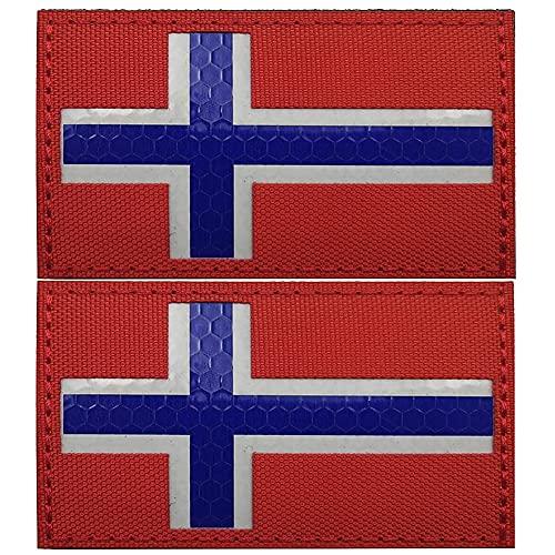 Parche reflectante Noruega Bandera de Norge Parches infrarrojos IR Militar Tactical Moral Brazalete Insignias Emblema Hombro Apliques Decorativos Sujetador Mochila Accesorios (Rojo)
