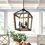 4-Light Rustic Chandelier Metal Pendant Light,Farmhouse Chandeliers,Ceiling Light Fixtures with Oil Rubbed Bronze Finish for Dining Room,Kitchen Island,Hallway and Entryway