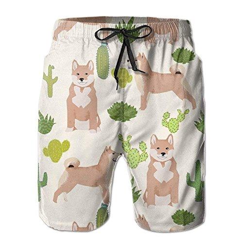 GHJL Shiba Inu Kaktus Trendige Badehose für Herren, schnelltrocknend, Strand-Shorts, Surfen, Laufen, Schwimmen Gr. XXL, weiß