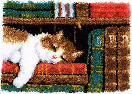 Vervaco Latch Hook Carpet Cat on Bookshelf, Assortiti