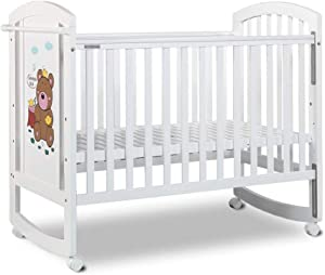 Crib Baby Cot Bed Multifunctional Simple European Style Healthy Pine Wood Paint High Load Bearing Crib White  Color White