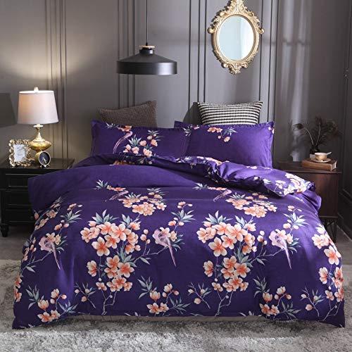 Funda de almohada estampada de flores y fundas de almohada: resistente a la decoloración y a las manchas, funda nórdica de microfibra impresa, 200 * 200CM (juego de tres piezas) azul púrpura