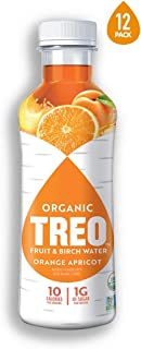 Treo Fruit & Birch Water Drink, Orange Apricot, USDA Organic, Non-GMO Project Verified, Vegan, Gluten-Free, 10 Calories & 1g of Sugar Per Serving, Good Source of Vitamin C, 16 fl oz, Pack of 12